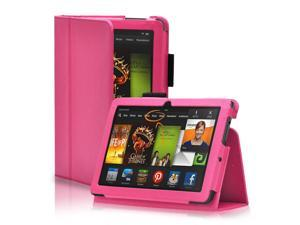 Amazon Kindle Fire HDX 7 Case - Slim Folio Leather Smart Cover Stand For Amazon Kindle Fire HDX 7 7'' 2013 Edition with Auto Sleep Wake Feature and Stylus Holder Hot Pink