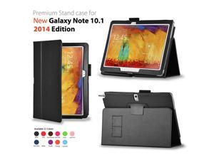 Samsung Galaxy Note 10.1 Case - Slim Fit PU Leather Case Smart Cover Stand For Samsung Galaxy Note 10.1 P600 P601 2014 Edition with Auto Sleep & Wake Feature and SD Card Slots Stylus Holder Black