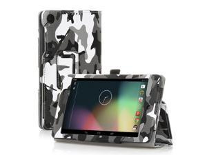 Google Nexus 7 Case- Slim Fit Folio PU Leather Case Smart Cover Stand For Google Nexus 7 2nd Gen 2013 Version with Auto Sleep Wake Feature and Pen Loop / Stylus Holder / SD Card Slot Camouflage Black