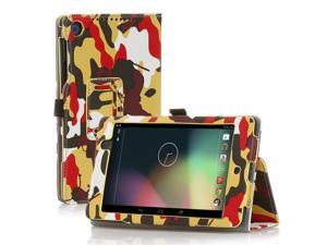 Google Nexus 7 Case- Slim Fit Folio PU Leather Case Smart Cover Stand For Google Nexus 7 2nd Gen 2013 Version with Auto Sleep Wake Feature and Pen Loop / Stylus Holder / SD Card Slot Camouflage Yellow