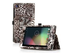 Google Nexus 7 Case- Slim Fit Folio PU Leather Case Smart Cover Stand For Google Nexus 7 2nd Gen 2013 Version with Auto Sleep Wake Feature and Pen Loop / Stylus Holder / SD Card Slots Tiger Brown