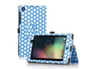 Google Nexus 7 Case- Slim Fit Folio PU Leather Case Smart Cover Stand For Google Nexus 7 2nd Gen 2013 Version with Auto Sleep & Wake Feature and Pen Loop / Stylus Holder / SD Card Slots Polka Dot Blue
