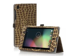 Google Nexus 7 Case- Slim Fit Folio PU Leather Case Smart Cover Stand For Google Nexus 7 2nd Gen 2013 Version with Auto Sleep Wake Feature and Pen Loop / Stylus Holder / SD Card Slot Gold Stripe Brown