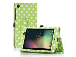 Google Nexus 7 Case- Slim Fit Folio PU Leather Case Smart Cover Stand For Google Nexus 7 2nd Gen 2013 Version with Auto Sleep & Wake Feature and Pen Loop / Stylus Holder / SD Card Slot Polka Dot Green