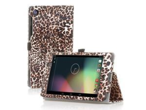 Google Nexus 7 Case- Slim Fit Folio PU Leather Case Smart Cover Stand For Google Nexus 7 2nd Gen 2013 Version with Auto Sleep Wake Feature and Pen Loop / Stylus Holder / SD Card Slots Leopard Brown