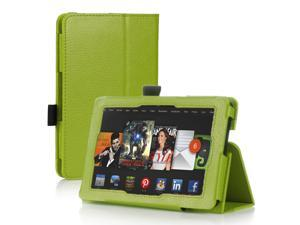 Amazon Kindle Fire HD 7 Case - Slim Fit Folio Leather Smart Cover Stand For Amazon Kindle Fire HD 7'' 2nd Gen 2013 Model with Auto Sleep & Wake Feature and Stylus Holder Green