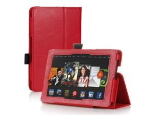 Amazon Kindle Fire HD 7 Case - Slim Fit Folio Leather Smart Cover Stand For Amazon Kindle Fire HD 7'' 2nd Gen 2013 Model with Auto Sleep & Wake Feature and Stylus Holder Red