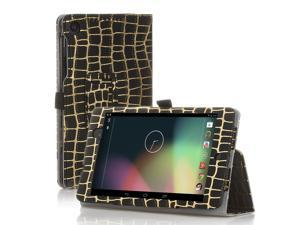 Google Nexus 7 Case- Slim Fit Folio PU Leather Case Smart Cover Stand For Google Nexus 7 2nd Gen 2013 Version with Auto Sleep Wake Feature and Pen Loop / Stylus Holder / SD Card Slot Gold Stripe Black