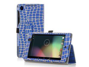 Google Nexus 7 Case- Slim Fit Folio PU Leather Case Smart Cover Stand For Google Nexus 7 2nd Gen 2013 Version with Auto Sleep Wake Feature and Pen Loop / Stylus Holder / SD Card Slot Gold Stripe Blue