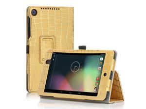 Google Nexus 7 Case- Slim Fit Folio PU Leather Case Smart Cover Stand For Google Nexus 7 2nd Gen 2013 Version with Auto Sleep Wake Feature and Pen Loop / Stylus Holder / SD Card Slot Gold Stripe Gold