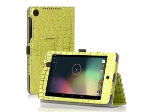 Google Nexus 7 Case- Slim Fit Folio PU Leather Case Smart Cover Stand For Google Nexus 7 2nd Gen 2013 Version with Auto Sleep Wake Feature and Pen Loop / Stylus Holder / SD Card Slot Gold Stripe Green