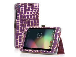Google Nexus 7 Case- Slim Fit Folio PU Leather Case Smart Cover Stand For Google Nexus 7 2nd Gen 2013 Version with Auto Sleep Wake Feature +  Pen Loop / Stylus Holder / SD Card Slot Gold Stripe Purple