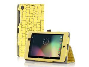 Google Nexus 7 Case- Slim Fit Folio PU Leather Case Smart Cover Stand For Google Nexus 7 2nd Gen 2013 Version with Auto Sleep Wake Feature + Pen Loop / Stylus Holder / SD Card Slot Gold Stripe Yellow