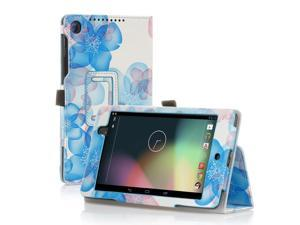 Google Nexus 7 Case- Slim Fit Folio PU Leather Case Smart Cover Stand For Google Nexus 7 2nd Gen 2013 Version with Auto Sleep & Wake Feature and Pen Loop / Stylus Holder / SD Card Slots Flower Blue