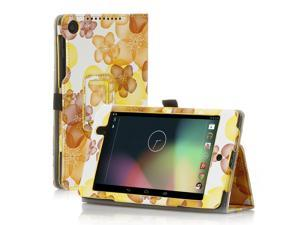 Google Nexus 7 Case- Slim Fit Folio PU Leather Case Smart Cover Stand For Google Nexus 7 2nd Gen 2013 Version with Auto Sleep & Wake Feature and Pen Loop / Stylus Holder / SD Card Slots Flower Yellow