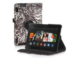Amazon Kindle Fire HDX 7 Case - 360 Degree Rotating PU Leather Case Smart Cover Stand For Amazon Kindle Fire HDX 7 2013 Model with Wake & Sleep Feature & Stylus Holder Tiger Brown