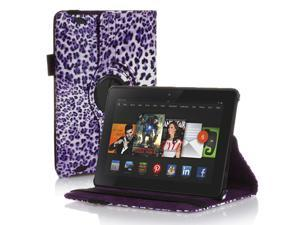 Amazon Kindle Fire HD 7 Case - 360 Degree Rotating PU Leather Case Smart Cover Stand For Amazon Kindle Fire HD 7 2nd Gen 2013 Model with Wake & Sleep Feature & Stylus Holder Leopard Pattern Purple