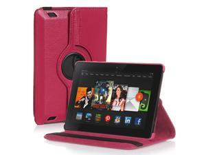 Amazon Kindle Fire HD 7 Case - 360 Degree Rotating PU Leather Case Smart Cover Stand For Amazon Kindle Fire HD 7 2nd Gen 2013 Model with Wake & Sleep Feature & Stylus Holder Pink