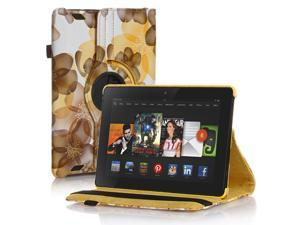 Amazon Kindle Fire HD 7 Case - 360 Degree Rotating PU Leather Case Smart Cover Stand For Amazon Kindle Fire HD 7 2nd Gen 2013 Model with Wake & Sleep Feature & Stylus Holder Flower Yellow