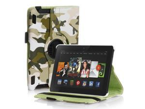 Amazon Kindle Fire HDX 8.9 Case - 360 Degree Rotating PU Leather Case Smart Cover Stand For Amazon Kindle Fire HDX 8.9 2013 Model with Wake & Sleep Feature & Stylus Holder Camouflage Army Green