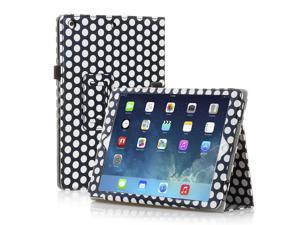 iPad 1 Case - Slim Fit PU Folio Leather Cover Stand - with Built-in Stand and Stylus Holder For Apple iPad 1 1st Generation - Polka Dot Pattern Black and White