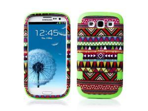 Samsung Galaxy S3 Case - Hybird 3-Piece Tribal Layer Protective Case Cover Skin For Samsung Galaxy S3 SIII I9300 Green