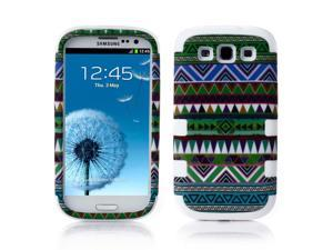 Samsung Galaxy S3 Case - Hybird 3-Piece Tribal Layer Protective Case Cover Skin For Samsung Galaxy S3 SIII I9300 White