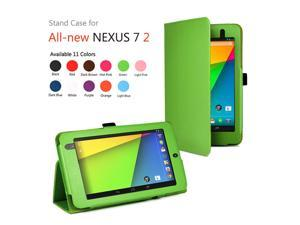Google Nexus 7 II Case - Slim Fit Folio PU Leather Case Smart Cover Stand For Google Nexus 7 2013 2nd Generation Tablet with Auto Sleep & Wake Feature and Stylus Holder Green