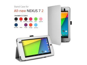 Google Nexus 7 II Case - Slim Fit Folio PU Leather Case Smart Cover Stand For Google Nexus 7 2013 2nd Generation Tablet with Auto Sleep & Wake Feature and Stylus Holder White