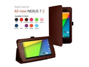 Google Nexus 7 II Case - Slim Fit Folio PU Leather Case Smart Cover Stand For Google Nexus 7 2013 2nd Generation Tablet with Auto Sleep & Wake Feature and Stylus Holder Brown