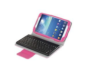 "Galaxy Tab 3 7.0 Keyboard Case - Wireless Bluetooth Keyboard Leather Case Cover For Samsung Galaxy Tab 3 7.0"" P3200 P3210 with Detachable Bluetooth Keyboard and Smart Cover Sleep & Wake Feature Pink"