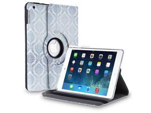 Apple iPad 4/3/2 Case - 360 Degree Rotating Stand Folio PU Leather Smart Case Cover with Automatic Wake & Sleep Feature and Stylus Holder For iPad 4th Gen , the New iPad 3 & iPad 2 Damask Blue
