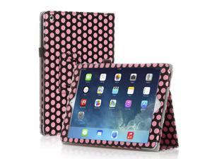 Apple iPad 4/3/2 Case - Slim Fit Leather Folio Cover Stand For iPad 4th Gen With Retina Display, the New iPad 3 & iPad 2 With Smart Cover Automatic Sleep & Wake Feature - Polka Dot Pattern - Pink