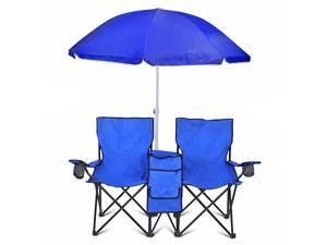 Double Folding Chair With Removable Umbrella Table Cooler Bag Fold Up Steel Construction Dual Seat Patio Beach Lawn Picnic Fishing Camping Garden and Carrying Bag