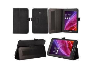 ASUS MeMO Pad 7 ME170CX / ASUS MeMO Pad 7 ME170C / ASUS Fonepad 7 FE170CG Case - Slim Fit Folio PU Leather Smart Cover Stand with Auto Sleep & Wake Feature , Hand Strap and Stylus Holder Black