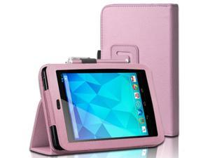 "Google Nexus 7 Case - Slim Fit Folio PU Leather Case Smart Cover Stand For Google Nexus 7"" Tablet with Auto Sleep & Wake Feature and Stylus Loop Pink"