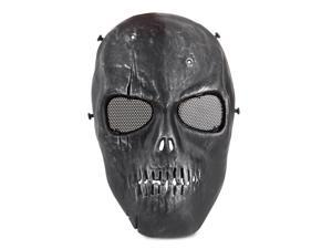 Airsoft Paintball Mask Full Face Skull Rusty Skeleton Metal Mesh Eye BB Field Protection Safety Guard Cosplay Black Silver for Hunting Wargame and All Military Purpose