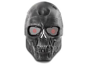 Airsoft Paintball Mask Full Face Skull Skeleton Metal Mesh Eye BB Field Protection Safety Guard Cosplay Terminator T800 T2000 Machine Style for Outdoor Activity Hunting Wargame Cosplay