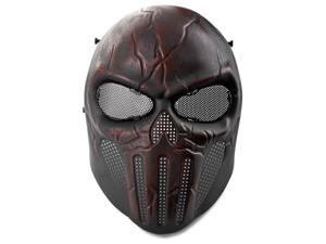 Airsoft Paintball Mask Full Face Skull Skeleton Metal Mesh Eye BB Field Protection Safety Guard Cosplay Dark Red Revenger for Outdoor Activity Hunting Wargame Cosplay