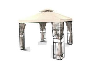 10'x10' Gazebo Replacement Canopy Top Cover (Beige) - Dual Tier with Plain Edge Polyester UV30 Waterproof for Outdoor Garden Patio Pavilion Sun Shade