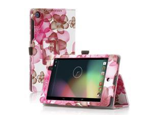 Google Nexus 7 Case- Slim Fit Folio PU Leather Case Smart Cover Stand For Google Nexus 7 2nd Gen 2013 Version with Auto Sleep & Wake Feature and Pen Loop / Stylus Holder / SD Card Slots Flower Pink
