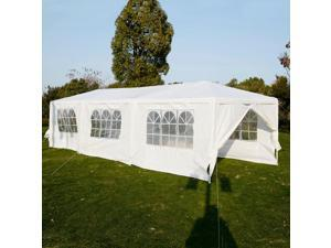 Outdoor Party Wedding Tent 10x30' Canopy Gazebo Pavilion Catering Events White Easy Set without Sidewall for Camping BBQ Commercial Flea Market