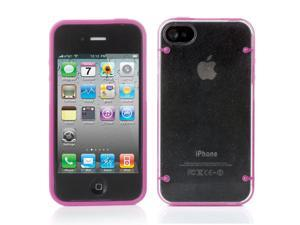 iPhone 4S/4 Case ,Hard Rubber iPhone 4S 4 Case - Ultra Thin Rugged Rubber Matte Snap on Hard Case Cover Skin For Apple iPhone 4S iPhone 4 with White Bumper Crystal Transparent TPU Back Pink
