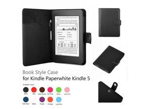 "Kindle Paperwhite Case - Slim Folio Leather Smart Cover Case For Amazon Kindle Paperwhite Both 2012 and 2013 Versions with 6"" Display with Auto Sleep Wake Feature and Stylus Holder Black"