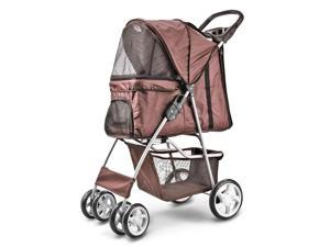 4 Wheels Pet Dog Stroller Cat Small Animals Carrier Large Deluxe Folding Flexible Easy Walk Jogger Jogging for Travel Up to 30 Pounds With Rain Cover Coffee Brown