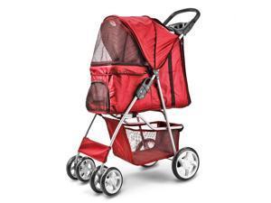 4 Wheels Pet Dog Stroller Cat Small Animals Carrier Large Deluxe Folding Flexible Easy Walk Jogger Jogging for Travel Up to 30 Pounds With Rain Cover Red