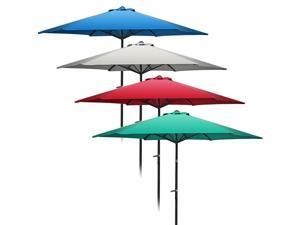 Patio Umbrella 10' ft Aluminum Patio Outdoor Market Yard Beach Garden Shade Umbrella Cover Steel 6 Ribs Hexagon Shape Wind Vent Beige 10 Feet