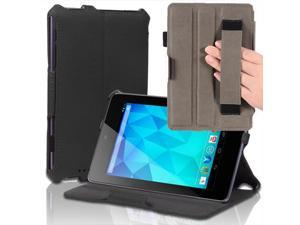"""Google Nexus 7 Case - Slim Fit Book Shell Folio Leather Hard Back Case Smart Cover Stand For Google Nexus 7"""" Tablet with Auto Sleep & Wake Feature , Stylus Loop and Elastic Hand Strap Black"""