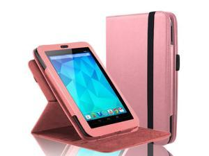 "Google Nexus 7 Case - 360 Degree Rotating Folio Leather Case Smart Cover Stand For Google Nexus 7"" Tablet with Auto Sleep & Wake Feature and Stylus Loop Pink"