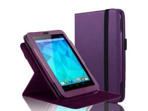 "Google Nexus 7 Case - 360 Degree Rotating Folio Leather Case Smart Cover Stand For Google Nexus 7"" Tablet with Auto Sleep & Wake Feature and Stylus Loop Purple"